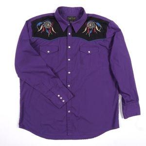 HIGH NOON Shirt Western Pearl Snap Native American